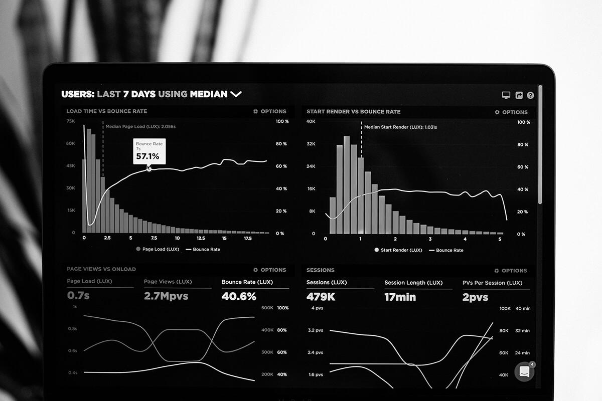 Vue d'un écran affichant des statistiques de trafic