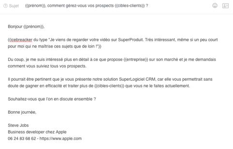 exemple d'un message de cold emailing